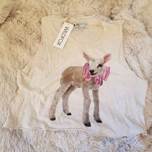 NWT Wildfox lamb with bow tank top small